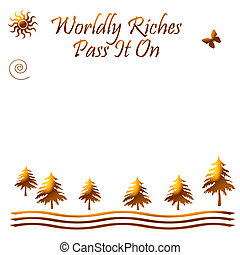 worldly riches poster gold on white illustration