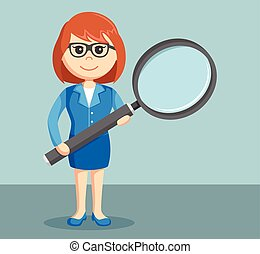 a businesswoman holding a big magnifying glass