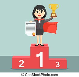 Super businesswoman standing on the podium and holding a...