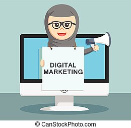 businesswoman digital marketing show in the display by...