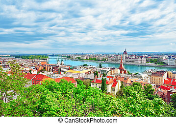 Panorama View on Budapest city from Fisherman Bastion....