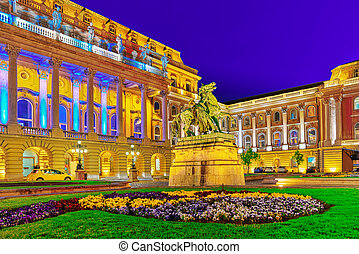 Courtyard of the Royal Palace in Budapest Night time Hungary...