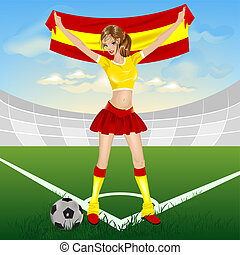 Spanish soccer girl fan