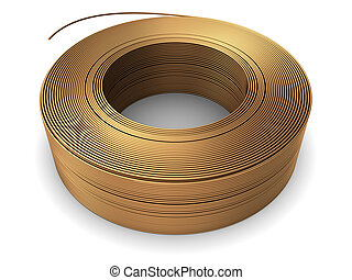 copper wire coil - 3d illustration of copper metal wire coil...