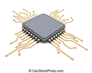 cpu circuit - 3d illustration of electronic circuit and CPU...