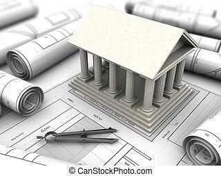 ancient building reconstruction - 3d illustration of an...