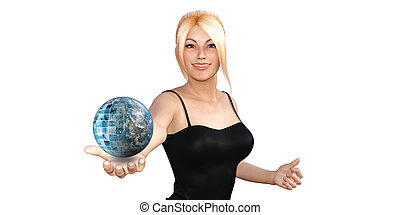 Global Technology Concept with Woman Holding Globe