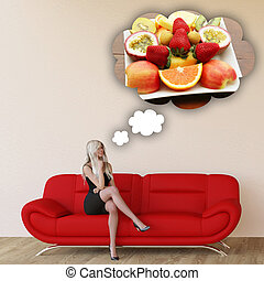 Woman Craving Fruits and Thinking About Eating Food