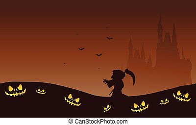 Halloween brown backgrounds warlock and castle silhouette...