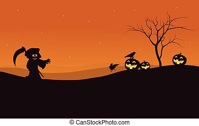 Silhouette of Halloween warlock and pumpkins illustration