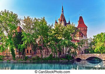 Vajdahunyad Castle Hungarian-Vajdahunyad vara with lake...