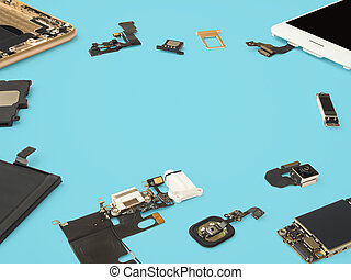 Smart phone components isolate on blue background