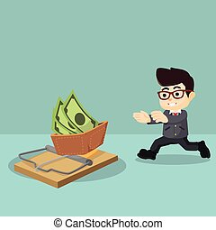 businessman running towards a trap - businessman running...