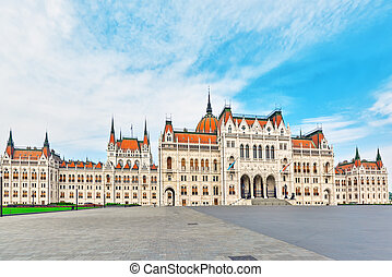Hungarian Parliament Main Entrance Panoramic view Hungary