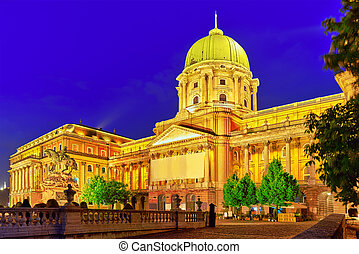 Budapest Royal Castle at night time Hungary