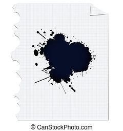 ink spot - Dark ink spot over paper, design element