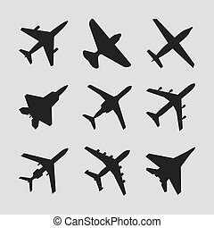 Airplane, aircraft vector icons. Set of airplane silhouette...