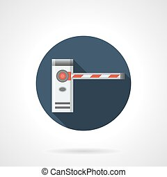 Borderline barrier round flat vector icon - Entry security...