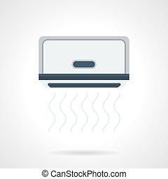Air conditioner install flat color vector icon - Blowing...