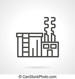Sugar factory black line vector icon - Abstract sign of...