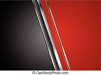 Contrast red black tech background with metallic stripes....