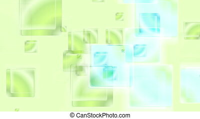 Green cyan glossy abstract squares video animation - Green...