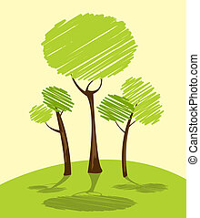 green trees - Background with green trees, cartoon sketch