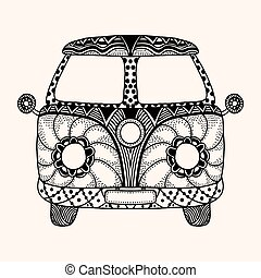 Hippie vintage car a mini van Detailed illustration Vector...
