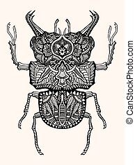 hand drawn beetle - Black and white hand drawn zentangle...