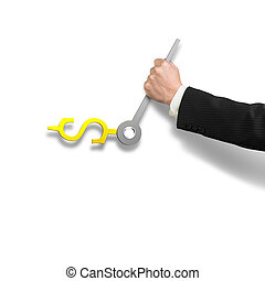 Clock hands in money sign with hand holding, 3D rendering -...