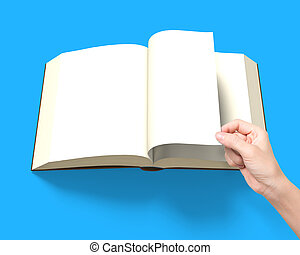 Hand flipping page with opening book , 3D rendering