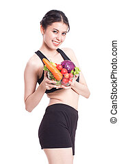 woman with vegetables - Healthy eating, happy young woman...