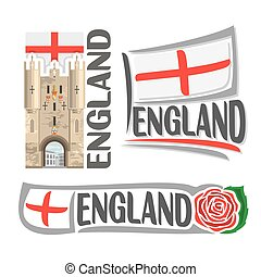 Vector logo for England, 3 isolated illustrations: Monkgate...