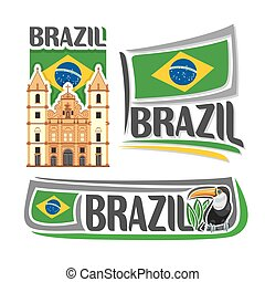 Vector logo Brazil,3 isolated illustrations: Church of Saint...