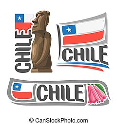 Vector logo Chile, 3 isolated illustrations: Moai stone...