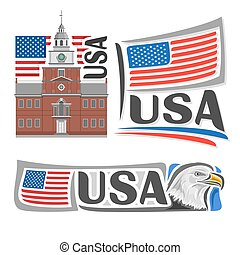 Vector logo USA,3 isolated illustrations: Independence Hall...