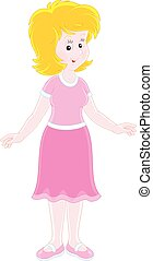 Cheerful young woman - Vector illustration of a friendly...