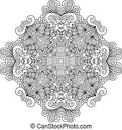Colorless floral patterns with geometric elements and other...