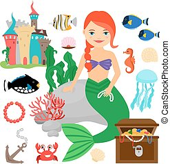 Cute mermaid with marine life - Mermaid vector illustration...