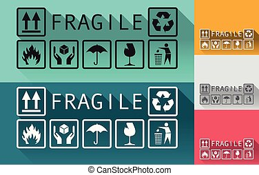 Fragile - Set of fragile templates background in a flat...