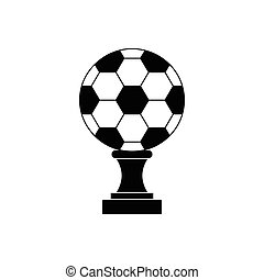 Soccer champion cup icon, black simple style