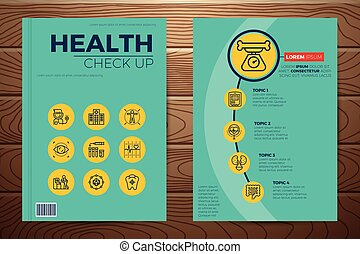 Medical and health check up book cover and flyer a4 template...