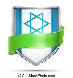 Shield with flag Israel and ribbon.