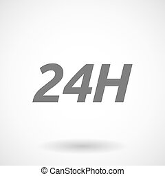 Illustration of the text 24H - Isolated vector illustration...