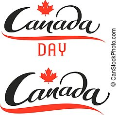 Canada Day. Set lettering text