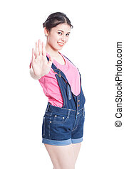 woman showing stop gesture - pretty young woman showing stop...