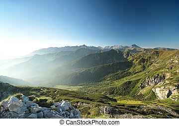 Carpathian mountains at dawn, Polish Tatras at the end of...
