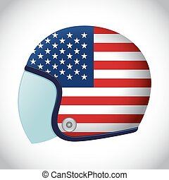 Retro Motorcycle Helmet With Flag of USA - Vector stock of...