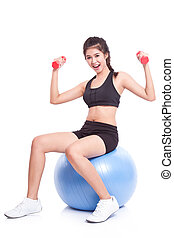 woman with exercise ball - Fitness woman sport training with...
