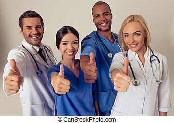 Group of medical doctors of different nationalities and...